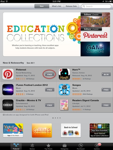 iPad-app-store-main-screen