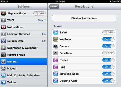 iPad-restrictions-safari-facetime-disabled