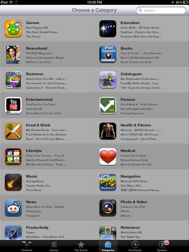 iPad-app-store-categories