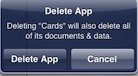 usage cards confirm delete app
