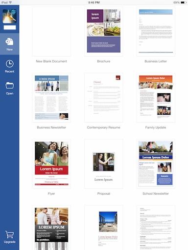 word for iPad create new document