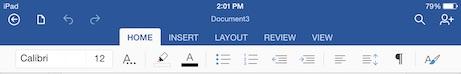 word for iPad home menu tab