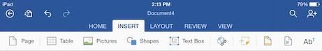 word for iPad insert menu tab