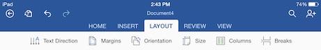 word for iPad layout menu tab