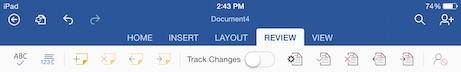 word for iPad review menu tab