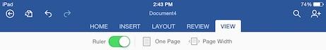 word for iPad view menu tab
