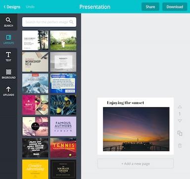 Canva App layouts example