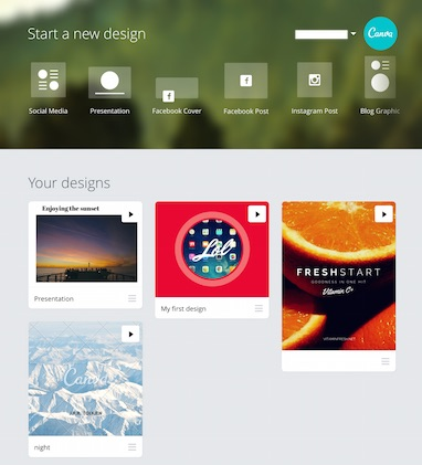 Canva App starting a new design