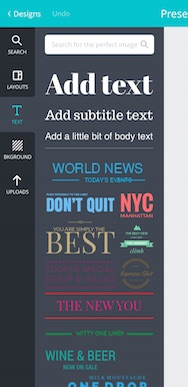 Canva App text example