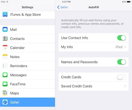 safari ipad autofill settings