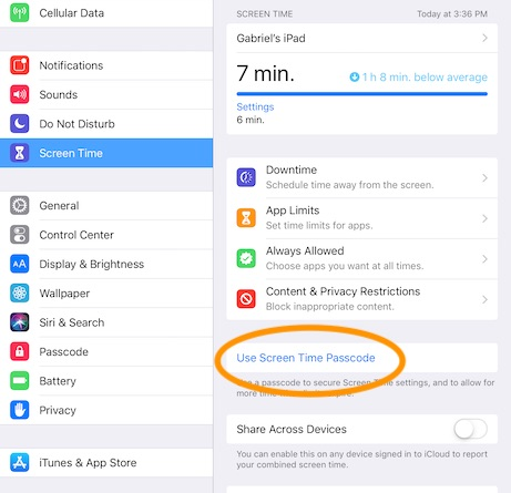 iPad use screen time passcode